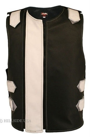 Made in USA Dual Front Zipper Bulletproof Style Leather Biker Vest Black/White