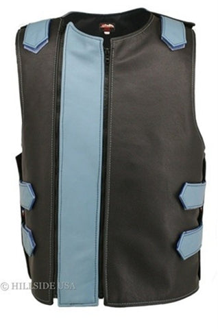 Made in USA Dual Front Zipper Bulletproof Style Leather Biker Vest Black/Light Blue