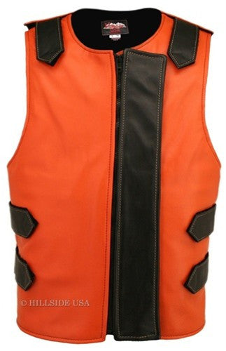 Made in USA Bulletproof Style Leather Motorcycle Vest Orange/Black