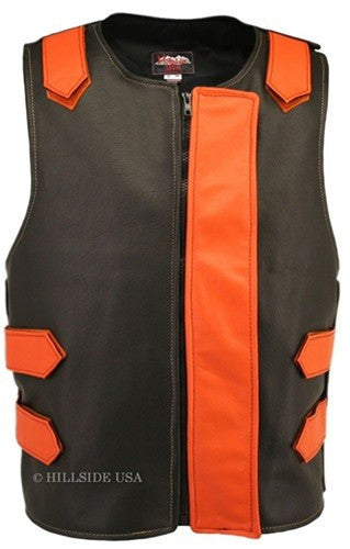 Made in USA Bulletproof Style Leather Motorcycle Vest Black/Orange
