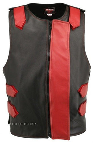 Made in USA Bulletproof Style Leather Motorcycle Vest Black/Red