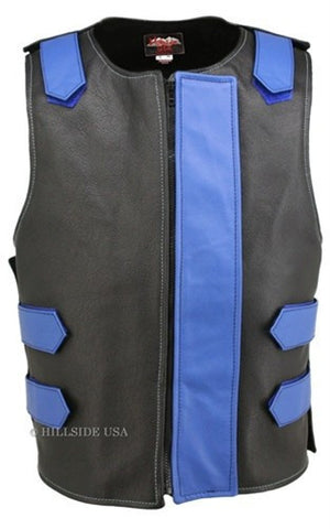 Made in USA Bulletproof Style Leather Motorcycle Vest Black/Blue
