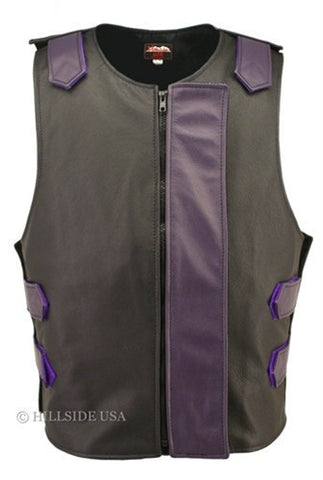 Made in USA Bulletproof Style Leather Motorcycle Vest Black/Purple
