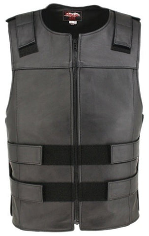 Made in USA Black Leather Bullet Proof Style Zippered Motorcycle Vest