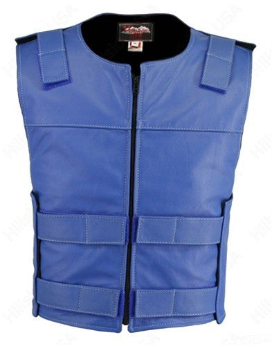 Made in USA Leather Bullet Proof Style Zippered Motorcycle Vest Blue
