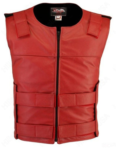 Made in USA Leather Bullet Proof Style Zippered Motorcycle Vest Red