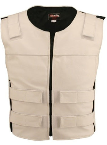 Made in USA Leather Bullet Proof Style Zippered Motorcycle Vest White