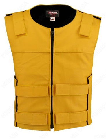 Made in USA Leather Bullet Proof Style Zippered Motorcycle Vest Yellow