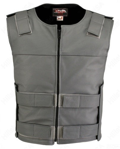 Made in USA Leather Bullet Proof Style Zippered Motorcycle Vest Grey
