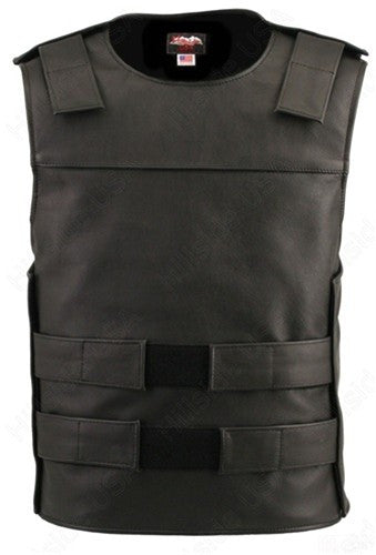 Men's Made in USA Black Leather Bullet Proof Style Tactical Style Motorcycle Vest