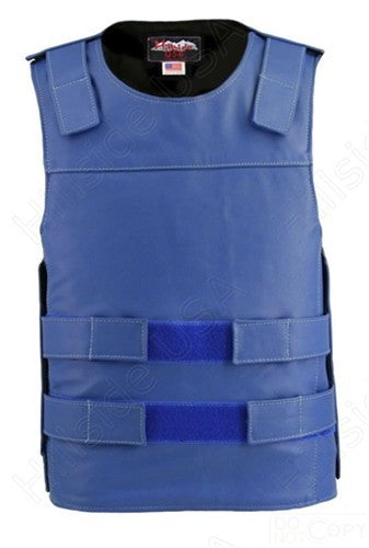 Mens Made in USA Royal Blue Leather Bullet Proof Style Motorcycle Vest