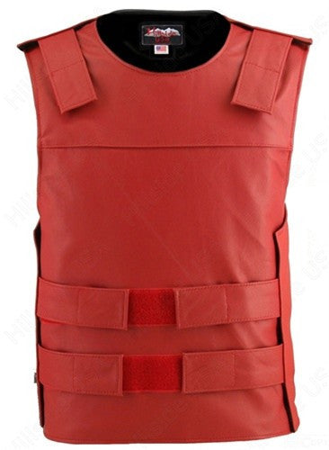 Mens Made in USA Red Leather Bullet Proof Style Motorcycle Vest