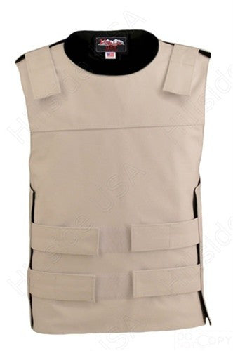 Mens Made in USA White Leather Bullet Proof Style Motorcycle Vest