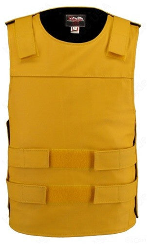 Mens Made in USA Yellow Leather Bullet Proof Style Motorcycle Vest