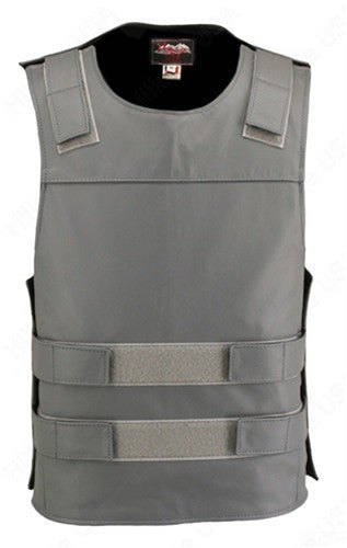 Mens Made in USA Grey Leather Bullet Proof Style Motorcycle Vest