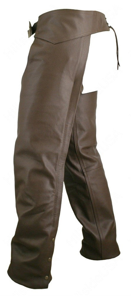 Made in USA Men's Brown Naked Seamless Leather Motorcycle Chaps