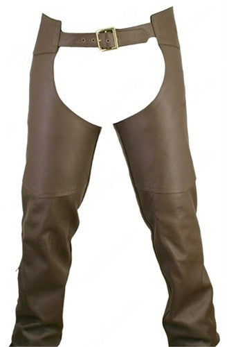 Men's Made in USA Brown Naked Leather Motorcycle Chaps Double Stitched