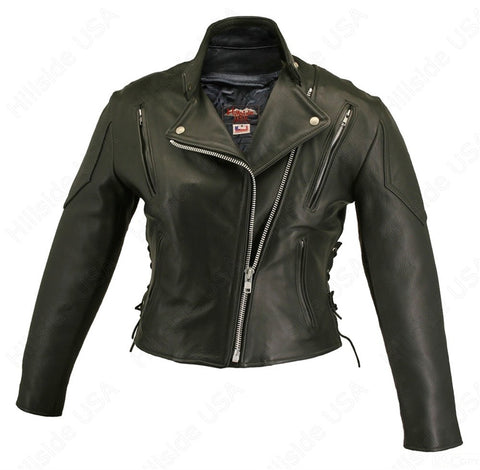 Womens Made in USA Soft Black Naked Leather Vented Motorcycle Jacket Side Laces