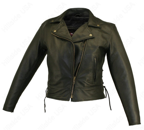 Womens Made in USA Soft Black Naked Leather Beltless Motorcycle Jacket