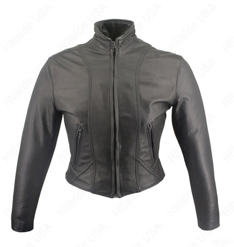 Womens Made in USA Naked Leather Form Fitting Motorcycle Jacket Gun Pockets Stand Up Collar