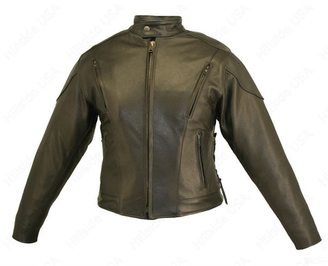 Womens Made in USA Naked Leather Classic Vented Motorcycle Jacket Gun Pockets