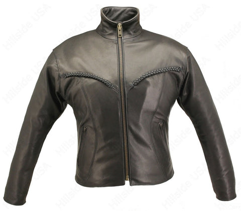 Womens Made in USA Naked Leather Braided Motorcycle Jacket Stand Up Collar