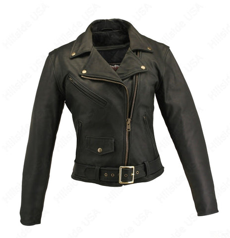 Womens Made in USA Naked Leather Classic Belted Motorcycle Jacket