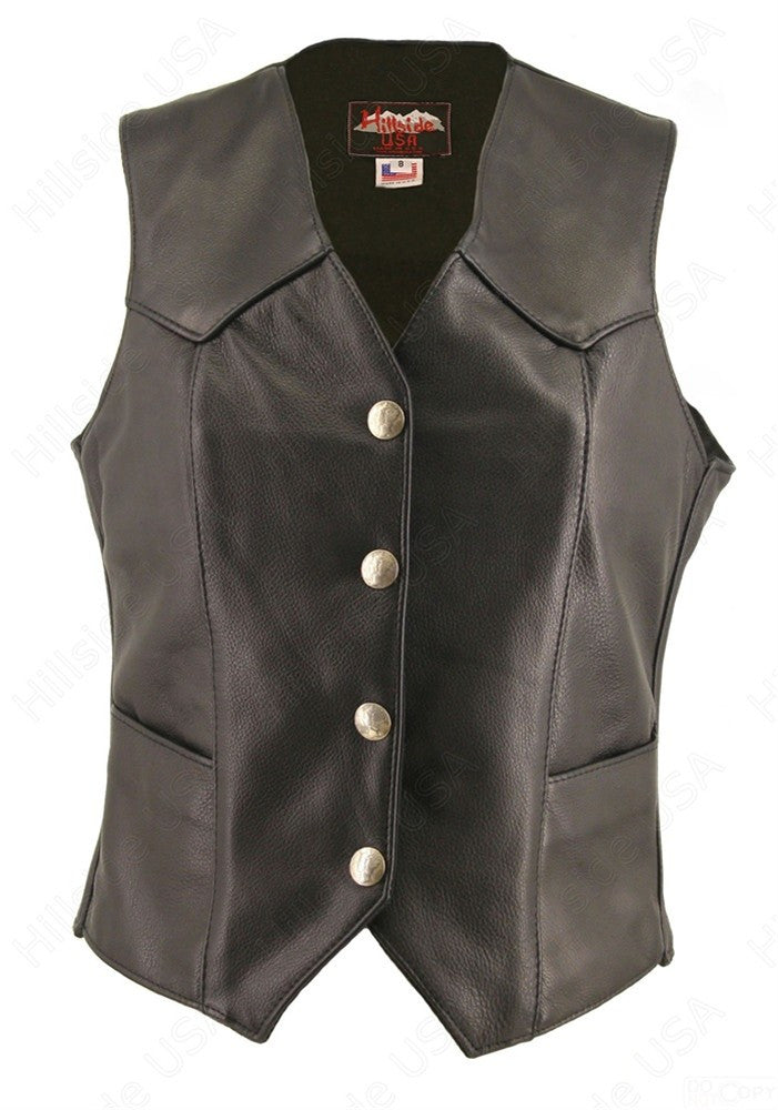 Womens Made in USA Naked Leather Motorcycle Vest Mercury Dime Snaps