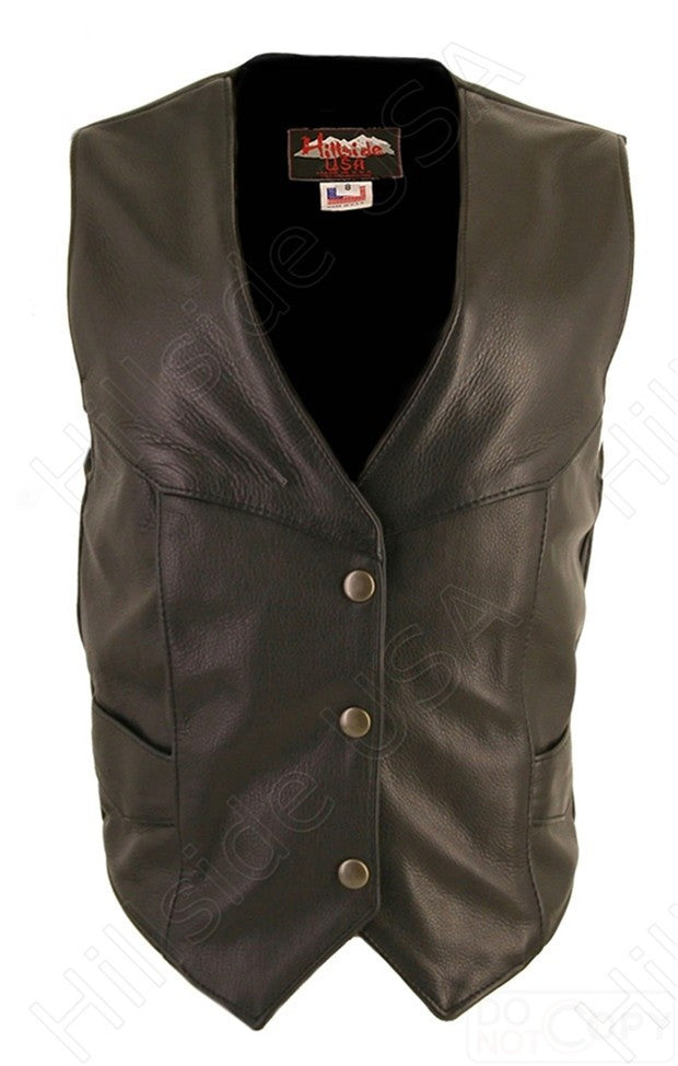 Ladies Made in USA Naked Leather Motorcycle Vest Antique Brass Snaps