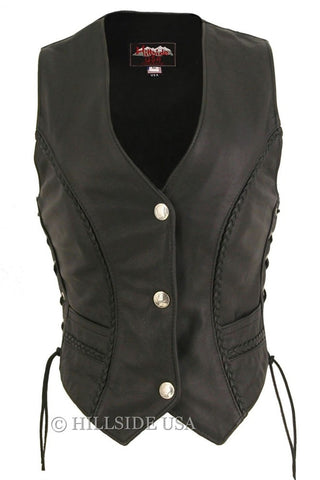 Ladies Made in USA Naked Leather Motorcycle Vest with Braid Trim Mercury Dime Snaps
