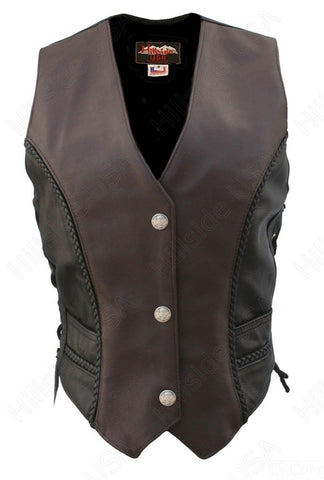 Ladies Black Brown Made in USA Naked Leather Motorcycle Vest Mercury Dime Snaps