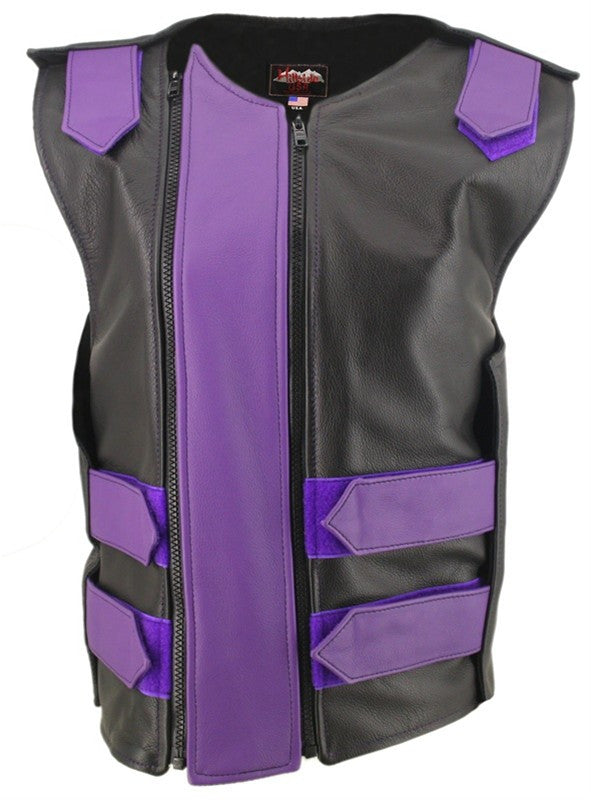 Womens Made in USA Double Zippered Bullet Proof Leather Motorcycle Vest All Colors