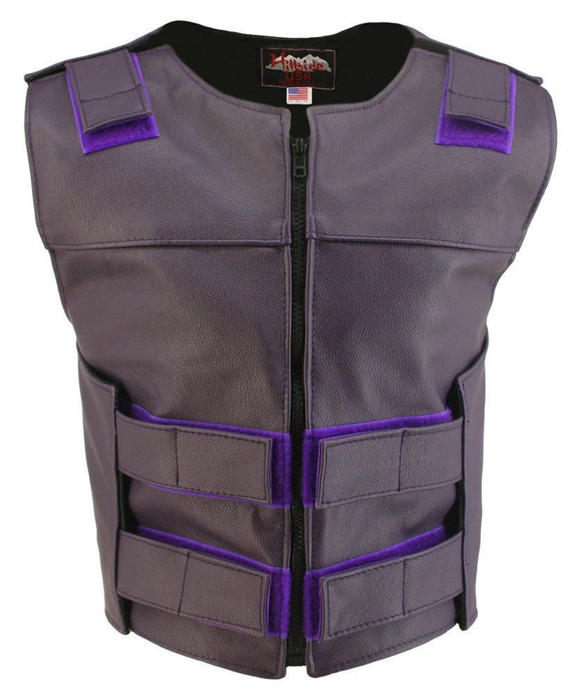 Womens Made in USA Zippered Bullet Proof Style Leather Motorcycle Vest