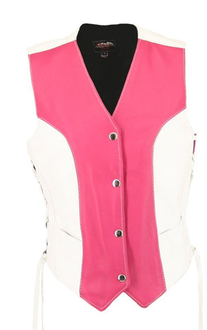 Ladies Made in USA Soft Leather Motorcycle Vest Pink and White