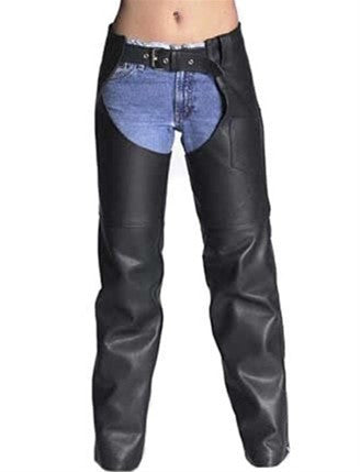 Women's Made in USA Classic Black Naked Leather Motorcycle Chaps