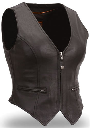 Women's Black Leather Motorcycle Vest with Hourglass Fit & Zip Front