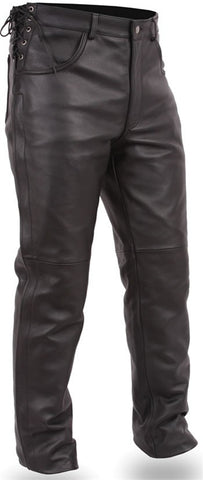 Men's Black Deep Pocket Leather Motorcycle Pants with Side Laces