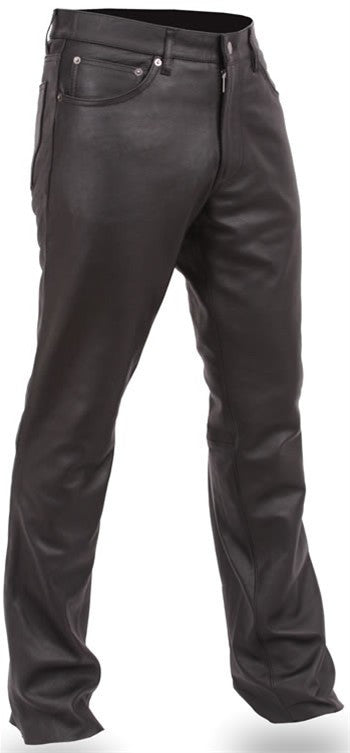 Men's Black Premium Leather 5 Pocket Jean Style Motorcycle Pants
