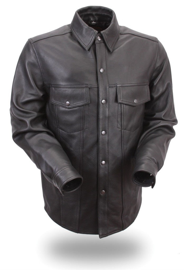 First Manufacturing Mens The Milestone Leather Motorcycle Shirt with Snap Front