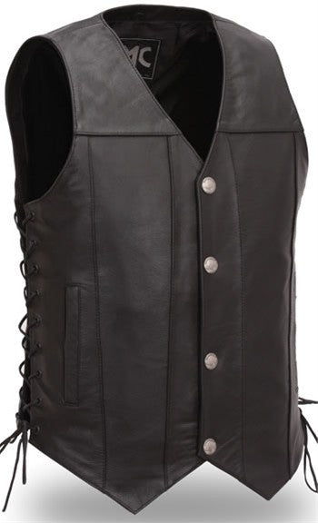 Mens Leather Motorcycle Club Vest with Concealed Gun Pockets Solid Back Side Laces