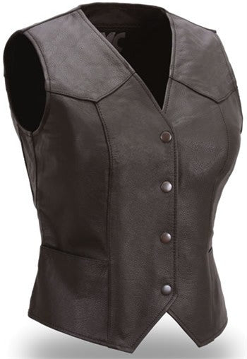 Sweet Sienna Women's Black Leather Classic Motorcycle Vest with Snap Front
