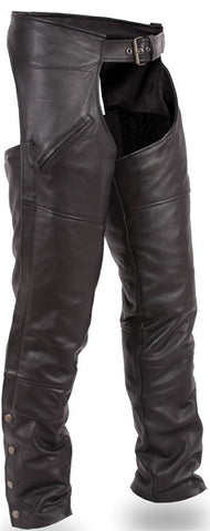 Nomad Unisex Black Premium Leather Deep Pocket Motorcycle Chaps