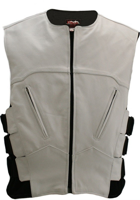 Men's Made in USA White Leather Bullet Proof SWAT Style Motorcycle Vest