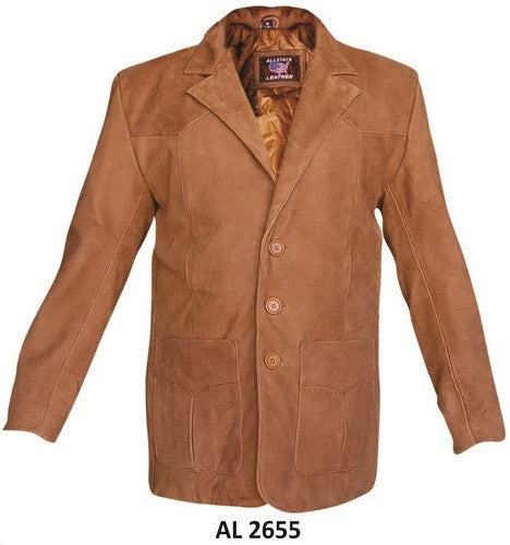 Men's Brown Buffalo Leather Three Button Blazer