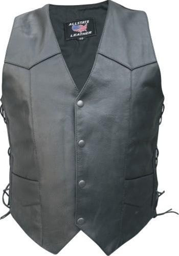Men's Tall Basic Black Leather Motorcycle Vest with Side Laces