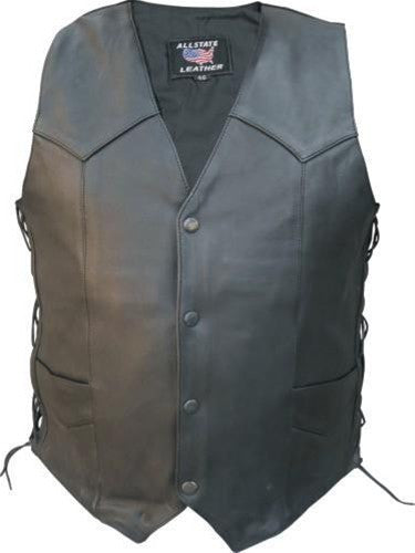 Men's Black Drum Dyed Naked Leather Motorcycle Vest with Side Laces