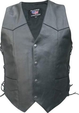 Men's Basic Black Buffalo Leather Motorcycle Vest with Side Laces