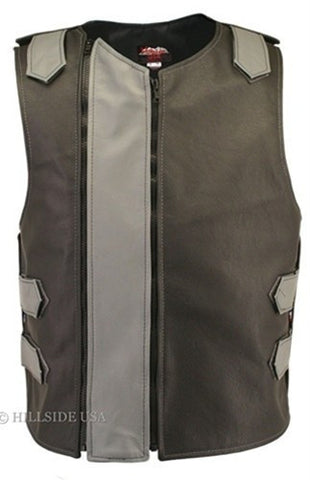Made in USA Dual Front Zipper Bulletproof Style Leather Biker Vest Black/Gray