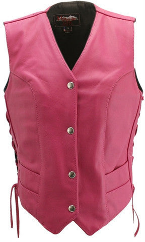Ladies Hot Pink Made in USA Leather Motorcycle Vest Side Laces