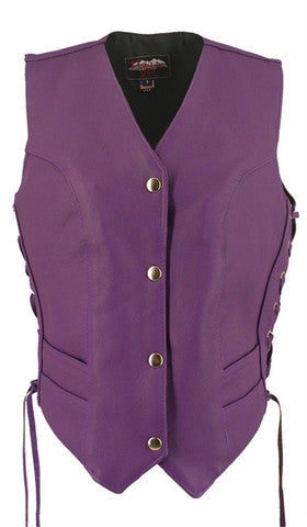 Ladies Purple Made in USA Leather Motorcycle Vest Side Laces